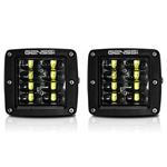 Four Row Cube Pod LED 3 Inches Auxiliary Lights Black (PAIR)