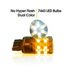 7443 LED No Hyper Flash Amber White Switchback for Jeep