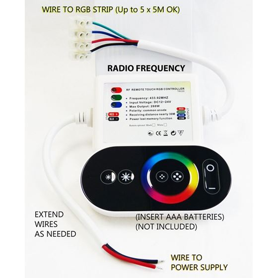 LED Strip RGB Controller RF Wireless Touch Color 4