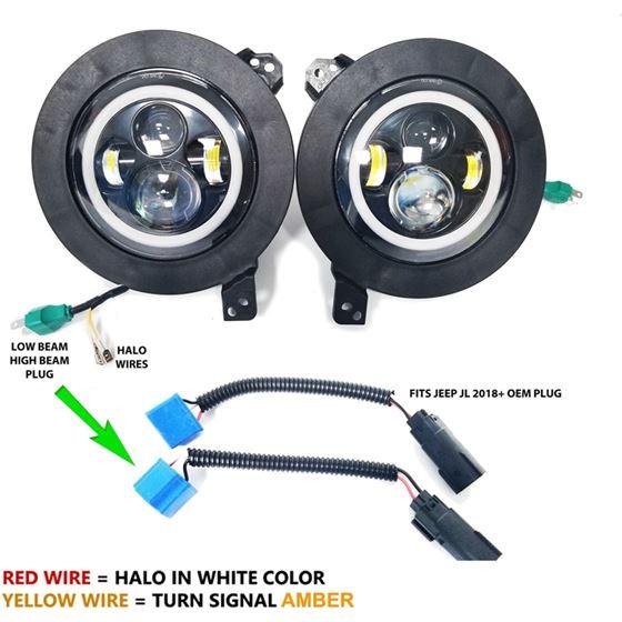 HALO Projector Black LED Headlights for Wrangler JL Gladiator 2018+