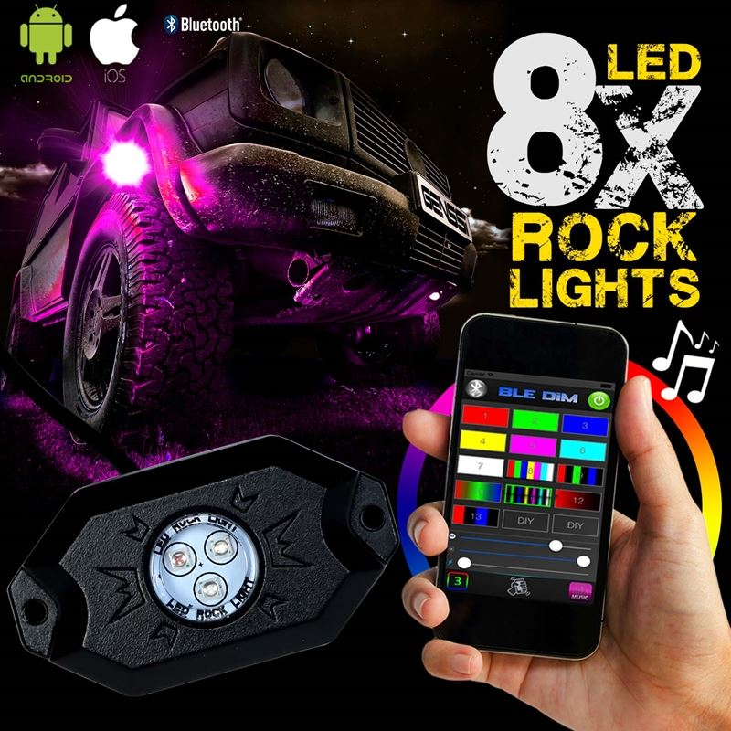 8PC RGB LED COLOR WATERPROOF WIRELESS ROCK LIGHTS