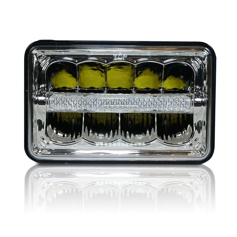 GENSSI 4X6 LED REFLECTOR W/DRL HEAD LIGHT CHROME