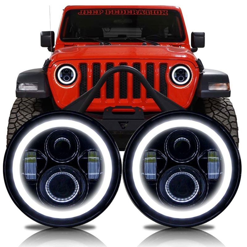 HALO Projector Black LED Headlights for Wrangler J