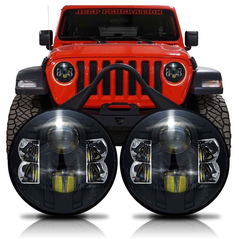 APOLLO Black Projector LED Headlights for Wrangler