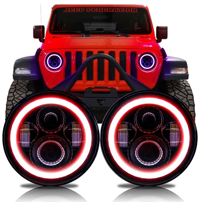 HALO RGB Color Projector LED Headlights for Wrangl
